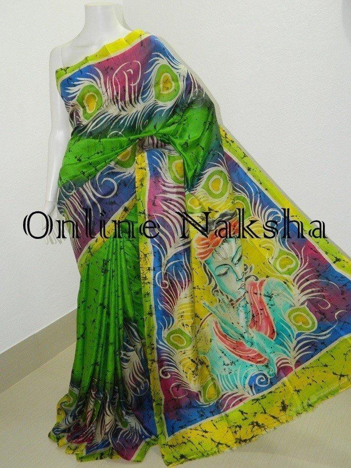 Handpainted Batik Pure Pattu Saree Online