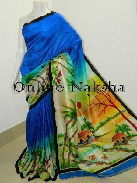 Pure Silk Handpainted Saree Online