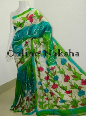 Floral Handpainted Pure Silk Saree Online