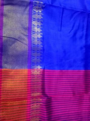 Royal Blue Handloom Pure Silk Sari Online