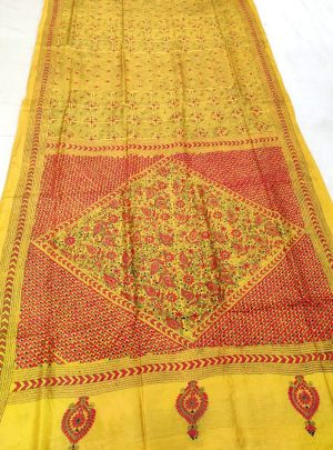 Yellow Hand Embroidery Saree Online 4028