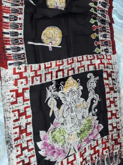 Black Pure Silk Hand Batik Saree