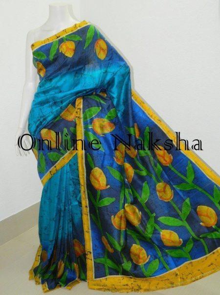 Handloom Pure Silk Batik Sari Online