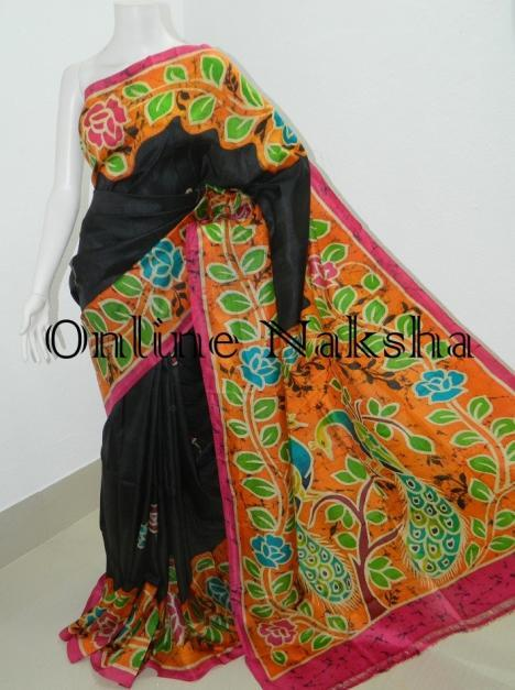 Black Pure Silk Hand Batik Saree