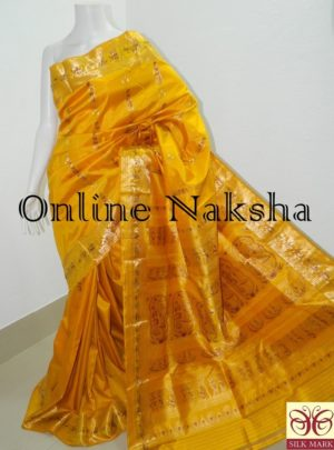 Yellow Bridal Swarnachari Silk Saree