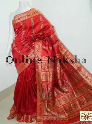 Red Bridal Pure Silk Baluchari Saree Online