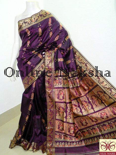 Handloom Bishnupuri Baluchari Silk Saree