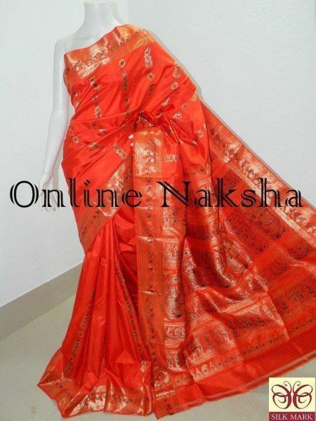 Orange Swarnachari Wedding Saree