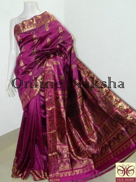 Magenta Bridal Swarnachari Saree Online