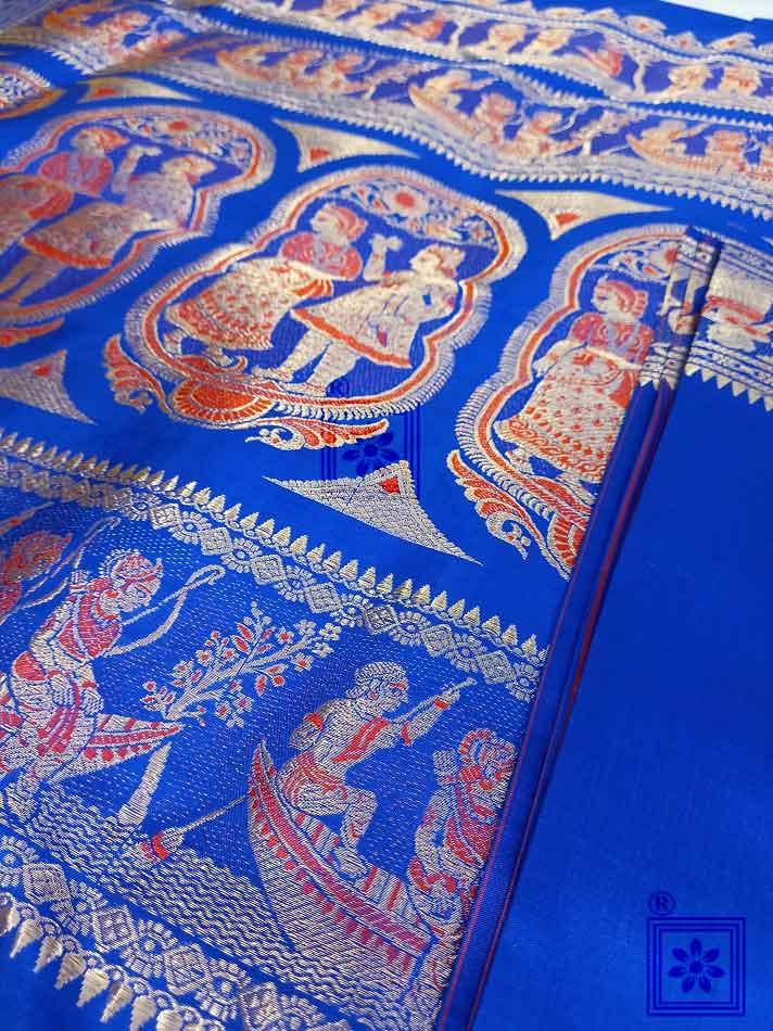 Royal Blue Bishnupuri Swarnachari Silk Saree