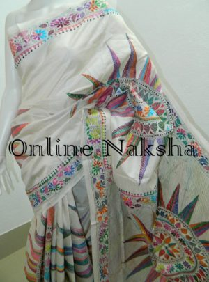 Contemporary Hand Embroidery Silk Saree
