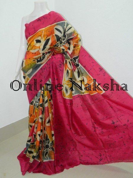 Handpaint Batik Pure Silk Saree