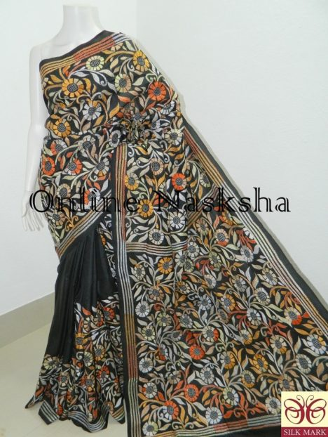 Black Floral Pure Silk Kantha Saree