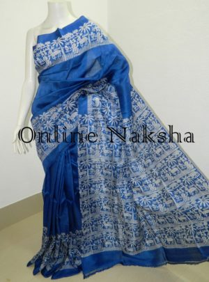 Blue Printed Pure Silk Saree Online