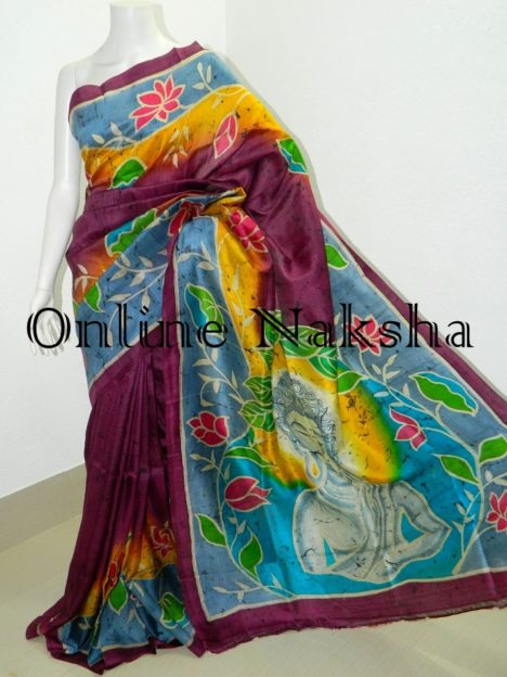 Krishna Paint Batik Pure Silk Saree Online