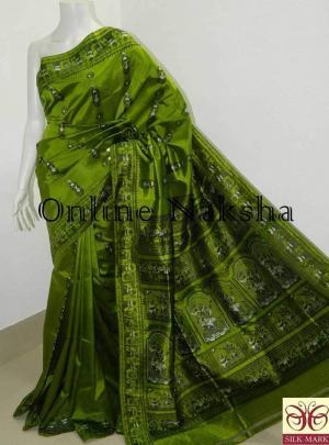 Green Bishnupuri Baluchari Silk