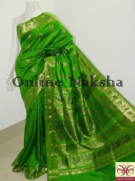 Green Bridal Silk Swarnachari Saree