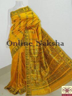 Yellow Baluchari Pure Silk Saree Online