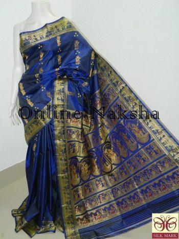 Navy Blue Bishnupuri Baluchari Silk Sari