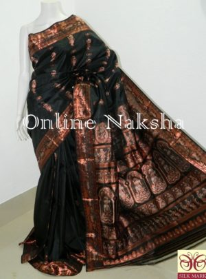 Bishnupuri Baluchari Black Pure Silk Sari