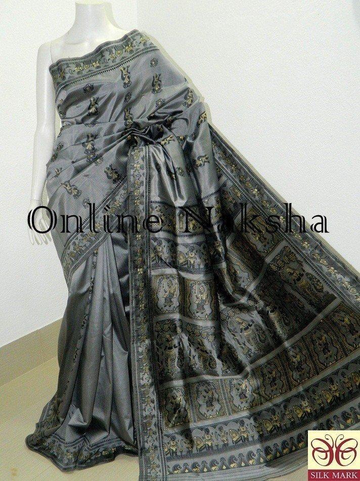 Grey Bishnupuri Baluchari Silk Shari