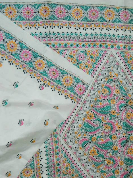 Contemporary Hand Embroidery Silk Saree