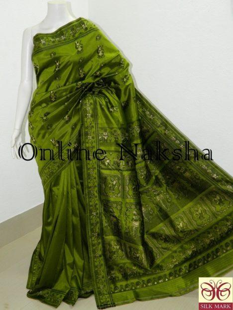 Green Bishnupuri Baluchari Silk Sharee Online