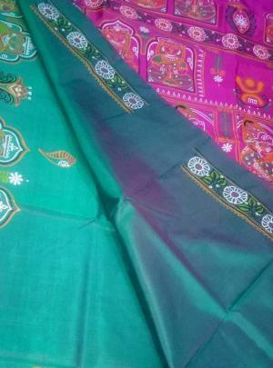 Handpainted Patachitra Pure Silk Saree