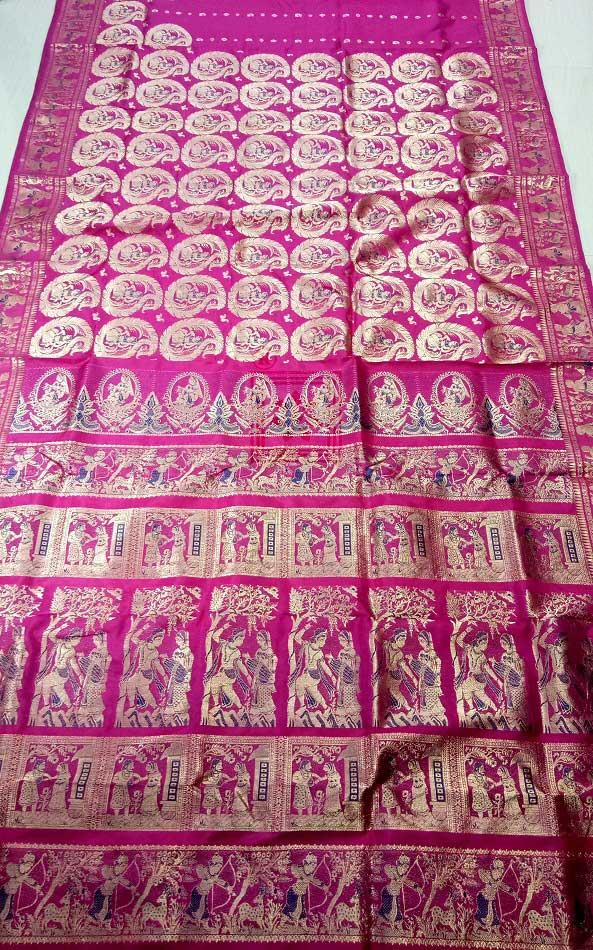 Traditional Bishnupuri Bridal Swarnachari Saree