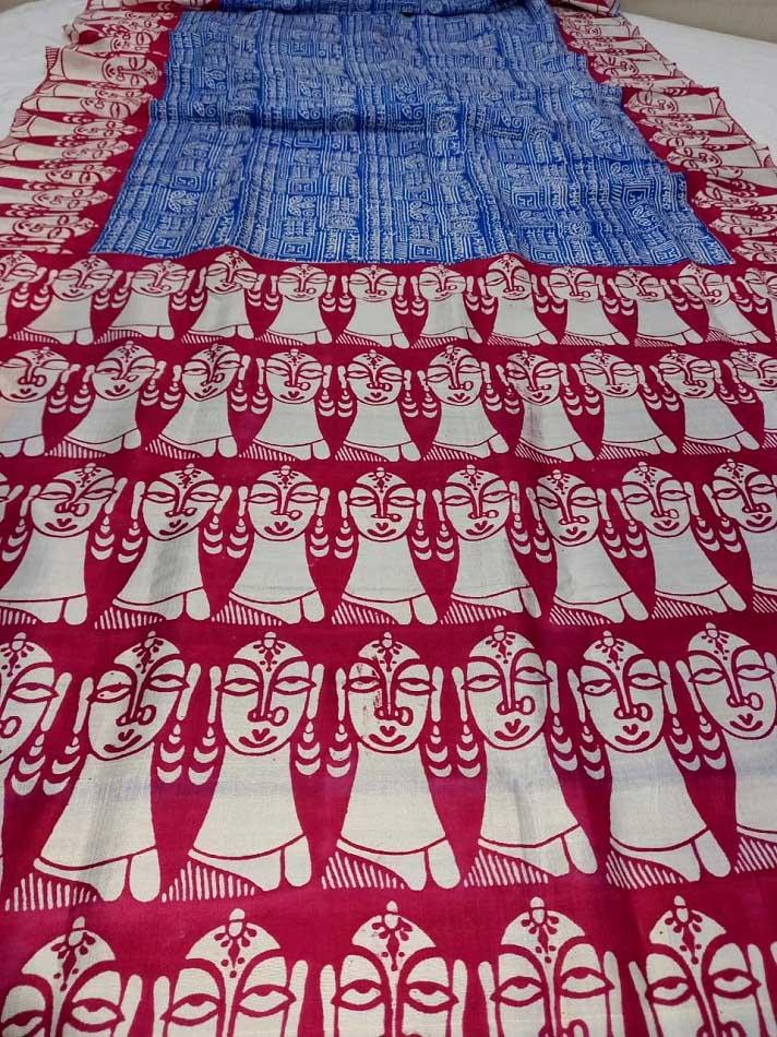 Blue Printed Pure Silk Saree Online