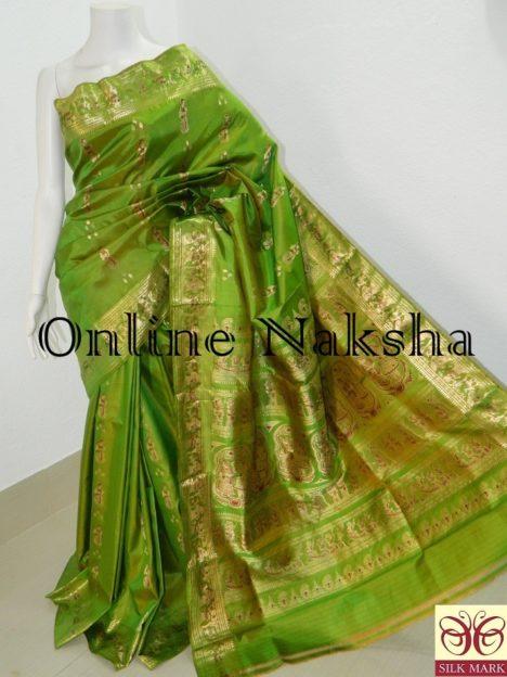 Green Bishnupuri Swarnachari Saree Online