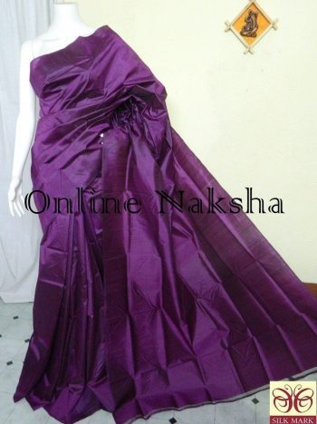 Plain Purple Pure Silk Handloom Sari