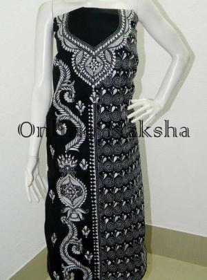 Black Kantha Cotton Kurti Material