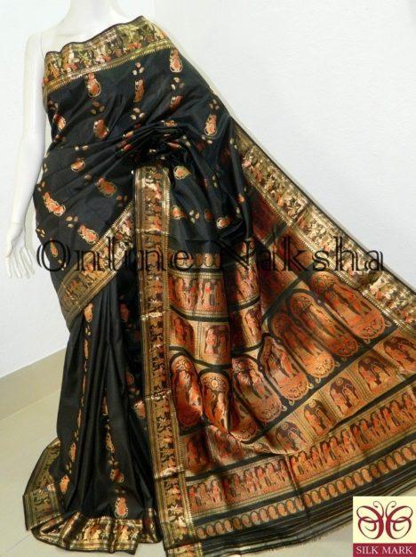Black Bishnupuri Swarnachari Saree Online