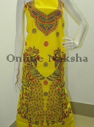 Yellow Cotton Kantha Kurti Material