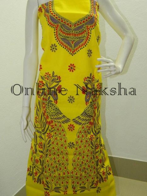 Yellow Cotton Kantha Kurti Material