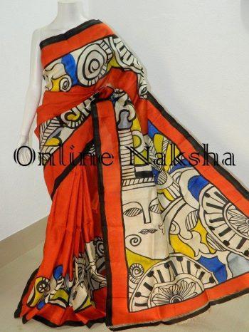 Bishnupuri Pure Silk Hand Paint Saree Online