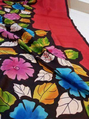 Handwoven Floral Paint Silk Sari