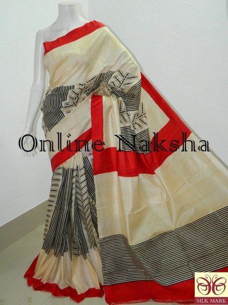 Block Printed Sonamukhi Silk Saree