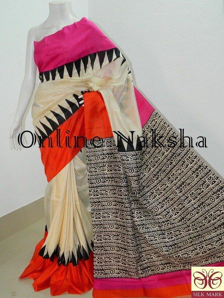 Block Printed Sonamukhi Silk Sarees