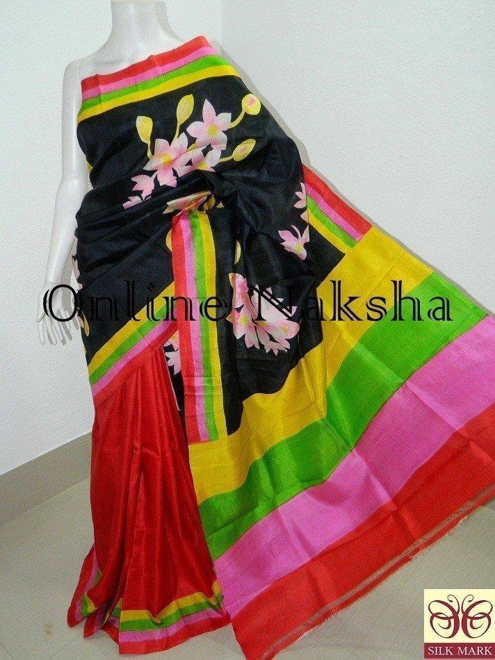 Hand Paint Pure Silk Sari
