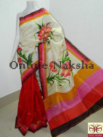 Hand Paint Handloom Silk Sari Online