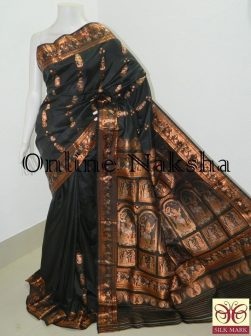Black Bishnupuri Swarnachari Saree