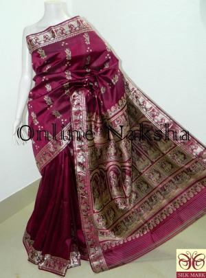 Baluchari Bishnupuri Pure Silk Sari
