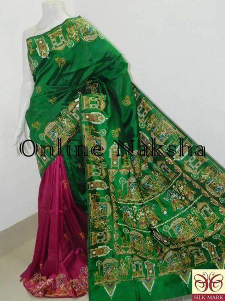 Exclusive Hand Painted Pattachitra Silk Sari Online