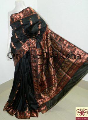 Black Bishnupuri Swarnachari Saree