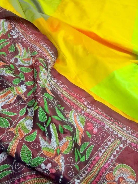 Kantha Work Saree