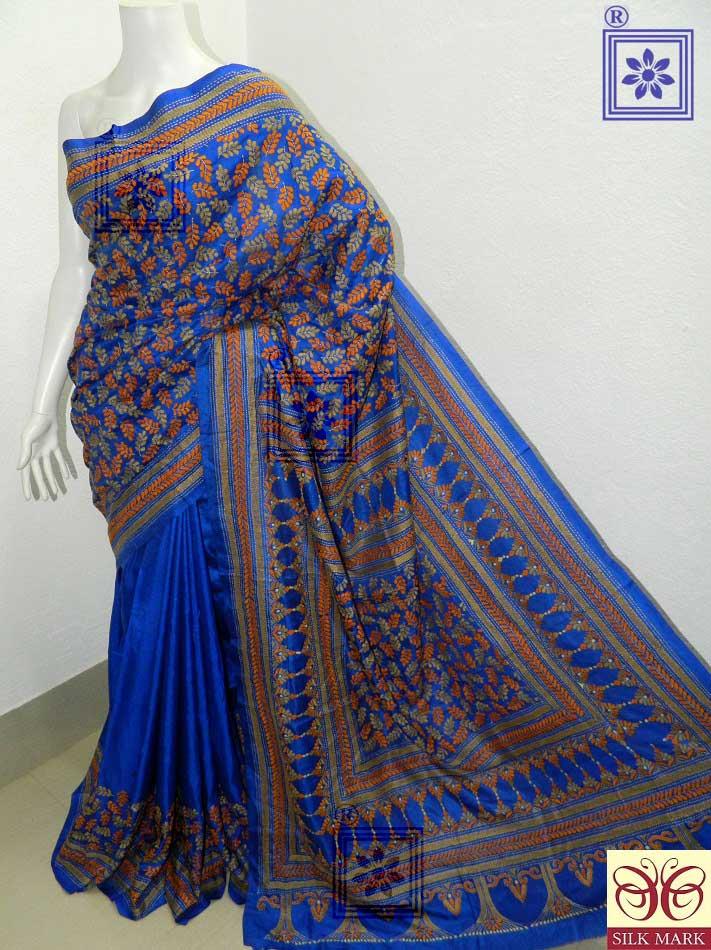Kantha Embroidery Bangalore Silk Saree
