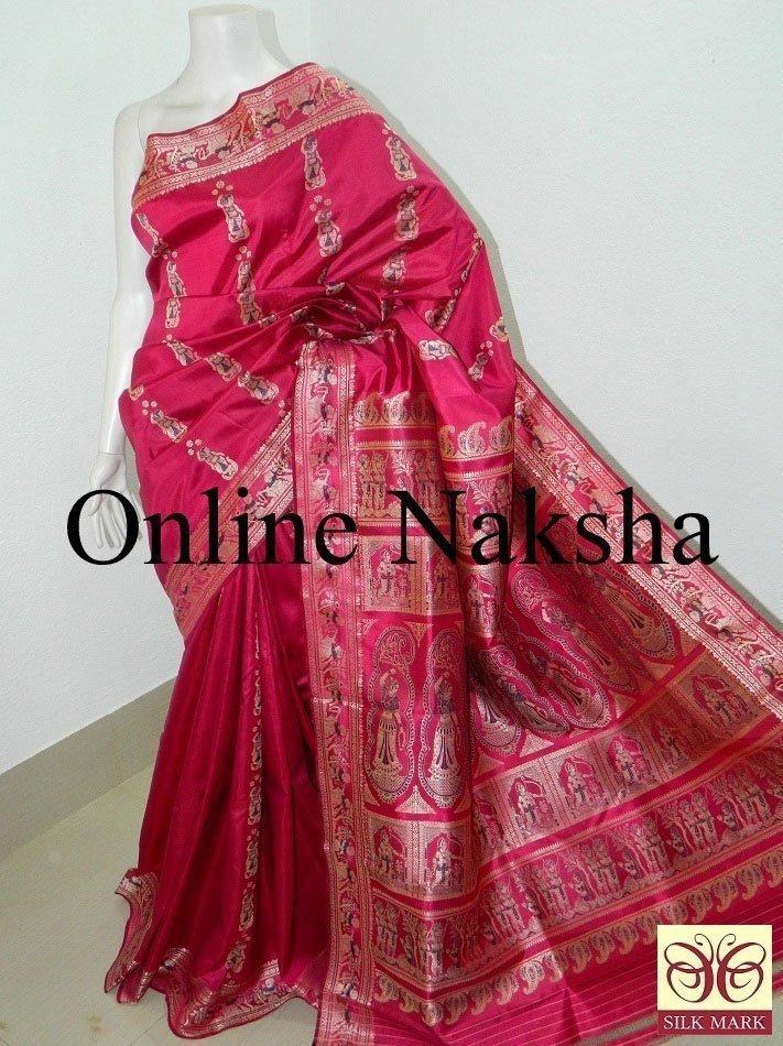 Baluchari Saree In Pink Pure Silk