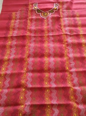 Red Kantha Stitch Kurti Material
